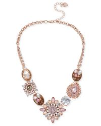 Betsey Johnson | Mixed Pink Bead Frontal Necklace | Lyst