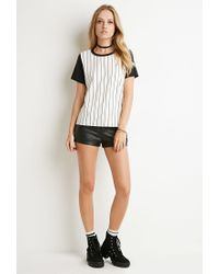 Forever 21 | Black Striped Colorblock-sleeve Tee | Lyst