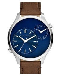 Armani Exchange - Metallic Dual Time Leather Strap Watch for Men - Lyst