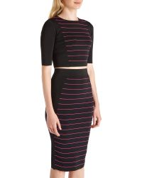 Ted Baker - Black Shelina Striped Knitted Crop Top - Lyst