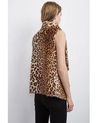 Velvet By Graham & Spencer - Brown Dariela Faux Fur Leopard Vest - Lyst