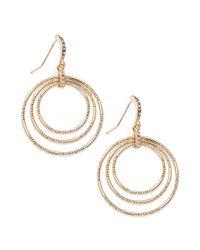 INC International Concepts - Metallic 14k Goldplated Crystal Pave Triple Circle Drop Earrings - Lyst