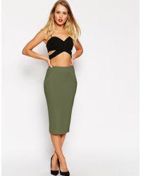 ASOS | Natural Midi Pencil Skirt In Bandage Rib | Lyst