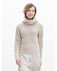 Banana Republic | Natural Honeycomb Turtleneck Sweater | Lyst