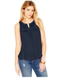 Lucky Brand - Blue Lucky Brand Scoop-neck Crochet-detail Top - Lyst