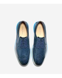 Cole Haan - Blue Lunargrand Long Wingtip Oxford for Men - Lyst