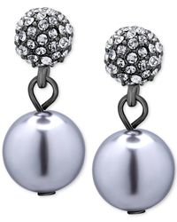 T Tahari | Blue Hematite-tone Pavé Crystal And Imitation Pearl Drop Earrings | Lyst