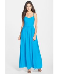 Adelyn Rae | Blue Chiffon Fit & Flare Maxi Dress | Lyst