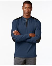 Sean John | Blue Contrast-trim Henley for Men | Lyst