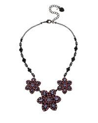Betsey Johnson | Purple Faceted Stone Collar Necklace | Lyst