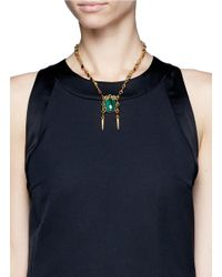 Ela Stone - Green Anouk Stone And Spike Pendant Necklace - Lyst