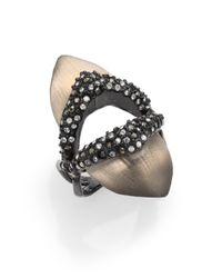 Alexis Bittar - Gray Electro Deco Lucite & Crystal Shield Ring - Lyst