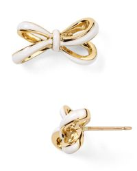 kate spade new york | White Tied Up Stud Earrings | Lyst
