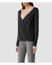 AllSaints - Gray Kerin Long Sleeve Top - Lyst
