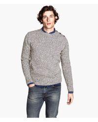 H&M   Gray Knitted Jumper for Men   Lyst