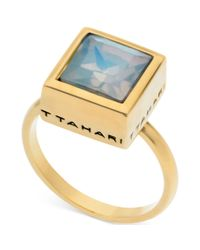 T Tahari | Metallic 14k Goldplated White Opal Crystal Square Ring | Lyst