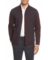 Ted Baker | Red 'hamolot' Houndstooth Panel Knit Bomber Jacket for Men | Lyst