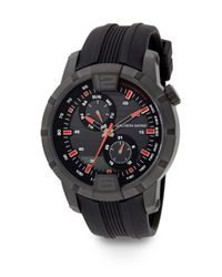 Saks Fifth Avenue   Blackened Stainless Steel & Rubber Multi-function Watch   Lyst