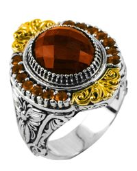 Konstantino | Metallic Sterling Silver Round Cut Cognac & Citrine Ring With 18 Karat Gold | Lyst