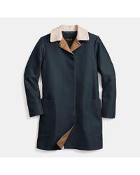 COACH | Blue Cotton Coat | Lyst