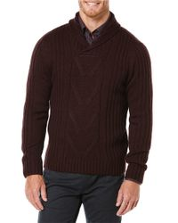 Perry Ellis | Purple Shawl Collar Sweater for Men | Lyst