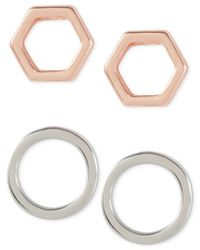 French Connection - Pink Two-tone Geometric Stud Earring Set - Lyst