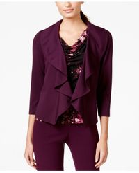 Calvin Klein | Purple Open-front Ruffle Jacket | Lyst
