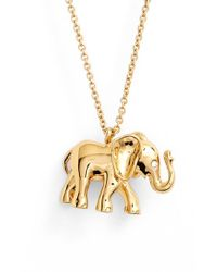 Lyst kate spade new york elephant pendant necklace in metallic gallery aloadofball Images