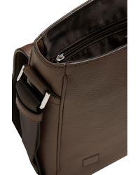 BOSS - Brown Leather Shoulder Bag: 'traveller_mess Flap' for Men - Lyst