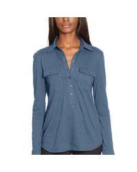 Ralph Lauren - Blue Cotton Jersey Buttoned Shirt - Lyst