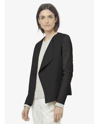 Vince - Black Leather Sleeve Drape Front Jacket - Lyst