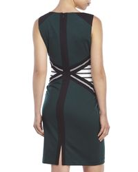 Ivanka Trump | Green Color Block Knit Sheath Dress | Lyst