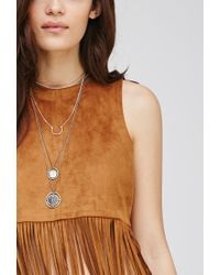 Forever 21 - Natural Fringed Faux Suede Crop Top You've Been Added To The Waitlist - Lyst