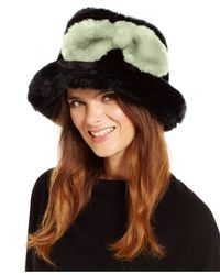kate spade new york | Black Faux Fur Bucket Hat | Lyst