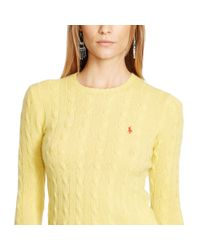Polo Ralph Lauren | Yellow Cable-knit Wool-blend Sweater | Lyst