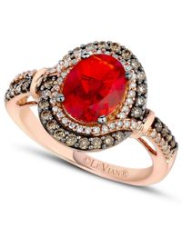 Le Vian - Brown Fire Opal (9/10 Ct. Chocolate ( 1/3 Ct. T.w.) And White Diamond (1/6 Ct. T.w.) Ring In 14k Rose Gold - Lyst