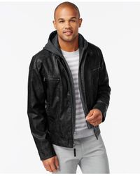 Calvin Klein | Black Faux-leather Hoodie for Men | Lyst