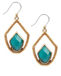 Lucky Brand - Blue Goldtone Drop Set Stone Earrings - Lyst
