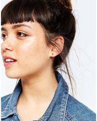 ASOS - Metallic Sterling Silver Pack Of 2 Basic Mini Metal Ball Stud Earrings - Lyst
