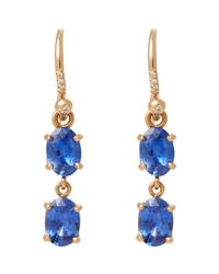 Irene Neuwirth | Blue Diamond, Ceylon Sapphire & Rose Gold Double Drop Earrin | Lyst