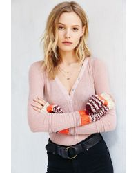 Urban Outfitters - Purple Patterned Long Convertible Mitten - Lyst