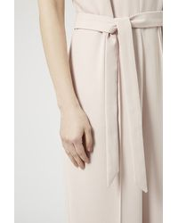 TOPSHOP - Pink Belted Wide Leg Jumpsuit - Lyst