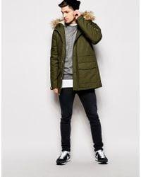 ASOS - Natural Parka Jacket With Faux Fur Trim In Khaki for Men - Lyst