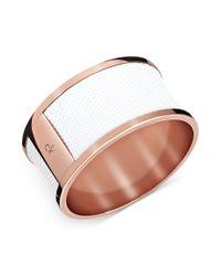 Calvin Klein - Metallic Rose Gold Pvd White Leather Bangle Bracelet - Lyst