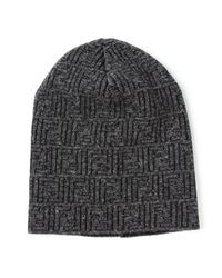 Fendi | Gray Ff Logo Beanie for Men | Lyst