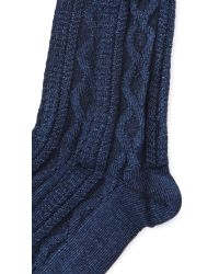 Anonymous Ism - Blue Indigo Cable Crew Socks for Men - Lyst