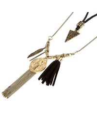 River Island - Black Gold Tone Rope Charm Necklace for Men - Lyst