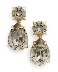 kate spade new york - Black Crystal Drop Earrings - Lyst