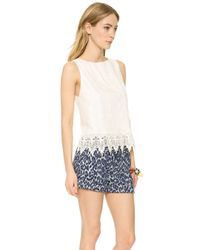 Alice + Olivia - Alice Olivia Anya Embroidered Tank Top Off White - Lyst