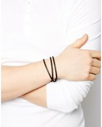 Seven London | Black Leather Wrap Bracelet for Men | Lyst